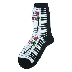 Keyboard Rose Socks - Black/White, Women's