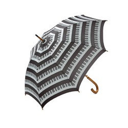 Keyboard Umbrella with Wooden Handle - Black/White