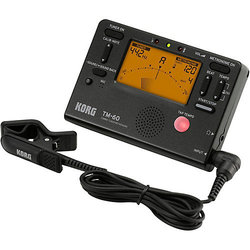 Korg TM-60 Combo Tuner Metronome - Clip On Microphone, Black