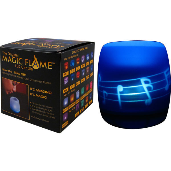 View larger image of LED Magic Flame Candle with Music Notes & Staff - Blue