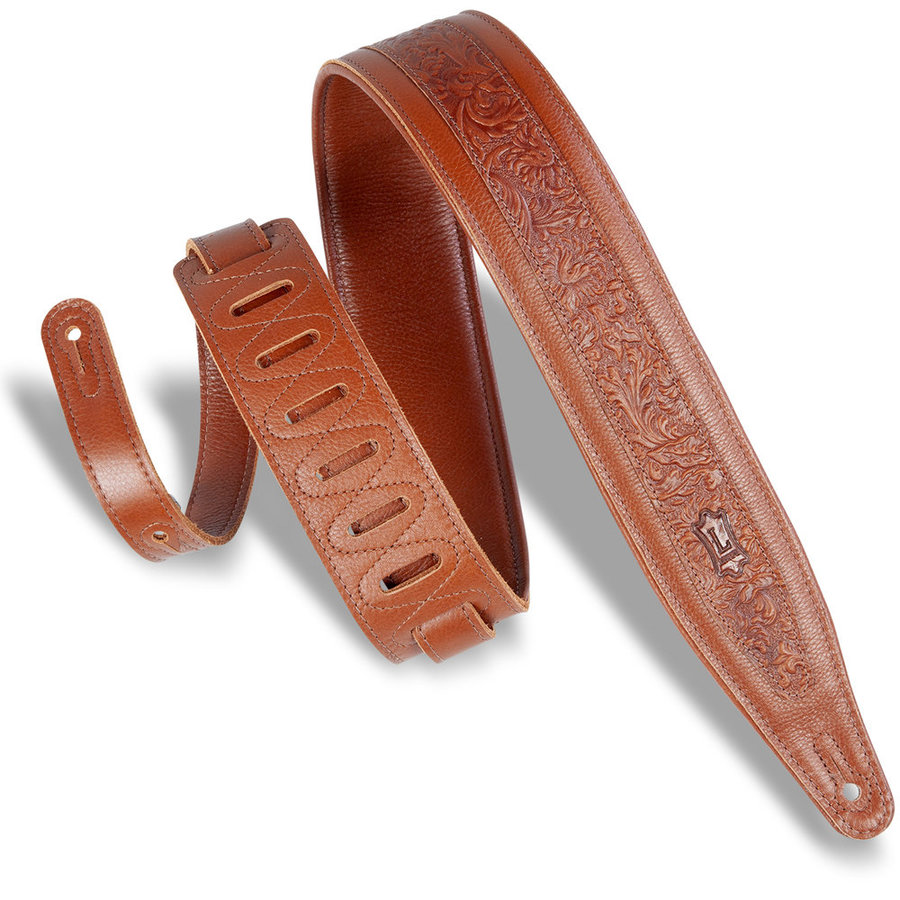 View larger image of Levy's Deluxe Series Florentine Emboss Leather Guitar Strap - Tan, 2 1/2