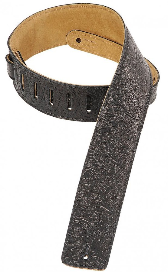 View larger image of Levy's DM1FF 2 1/2 Garment Leather Guitar Strap with Florentine Embossing - Black