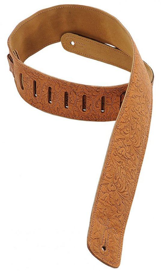 View larger image of Levy's DM1FF 2 1/2 Garment Leather Guitar Strap with Florentine Embossing - Brown