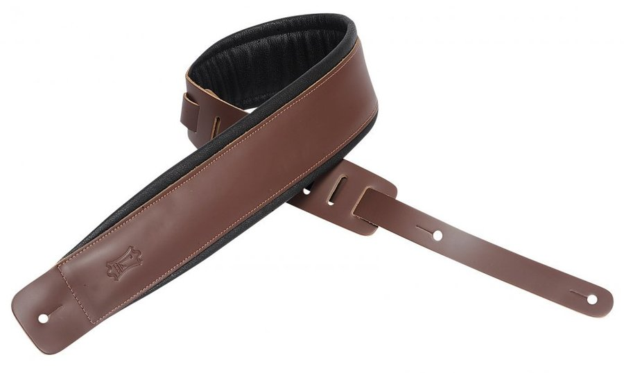 View larger image of Levy's DM1PD 3 Leather Guitar Strap with Foam Padding - Brown