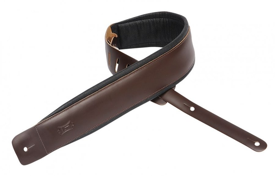 View larger image of Levy's DM1PD 3 Leather Guitar Strap with Foam Padding - Dark Brown