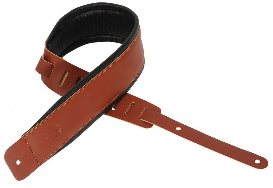 View larger image of Levy's DM1PD 3 Leather Guitar Strap with Foam Padding - Walnut