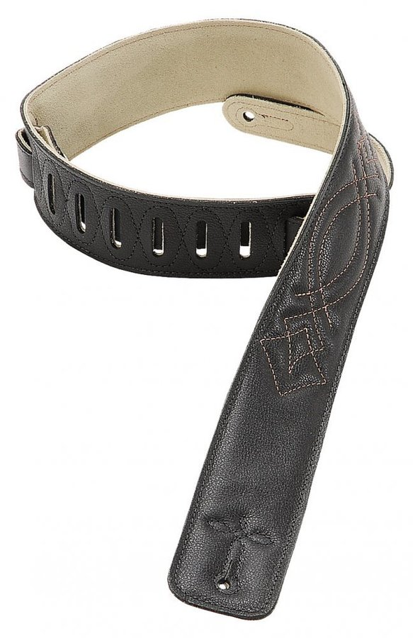 View larger image of Levy's DM1SG 2 1/2 Garment Leather Guitar Strap with Decorative Stitching - Black