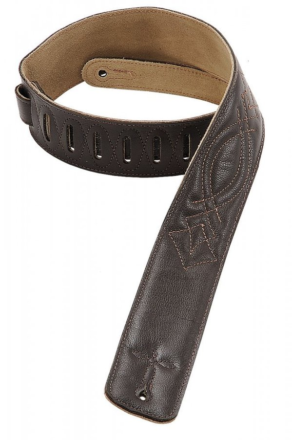 View larger image of Levy's DM1SG 2 1/2 Garment Leather Guitar Strap with Decorative Stitching - Dark Brown