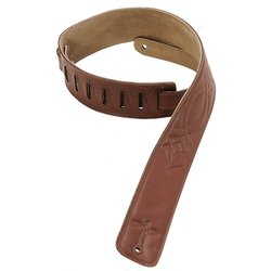 Levy's DM1SG 2 1/2 Garment Leather Guitar Strap with Decorative Stitiching - Brown