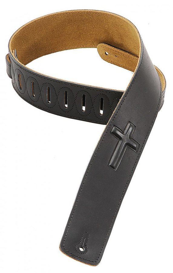 View larger image of Levy's DM1SGC 2 1/2 Leather Guitar Strap with Super-Embossed Christian Cross - Black