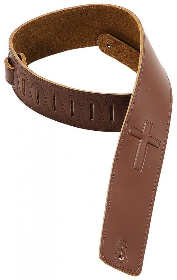 View larger image of Levy's DM1SGC 2 1/2 Leather Guitar Strap with Super-Embossed Christian Cross - Brown