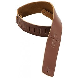 Levy's DM1SGC 2 1/2 Leather Guitar Strap with Super-Embossed Christian Cross - Brown