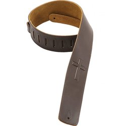 Levy's DM1SGC 2 1/2 Leather Guitar Strap with Super-Embossed Christian Cross - Dark Brown