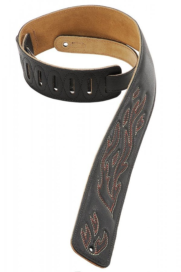 View larger image of Levy's DM1SGF 2 1/2 Leather Guitar Strap with Decorative Flame Stitiching - Black