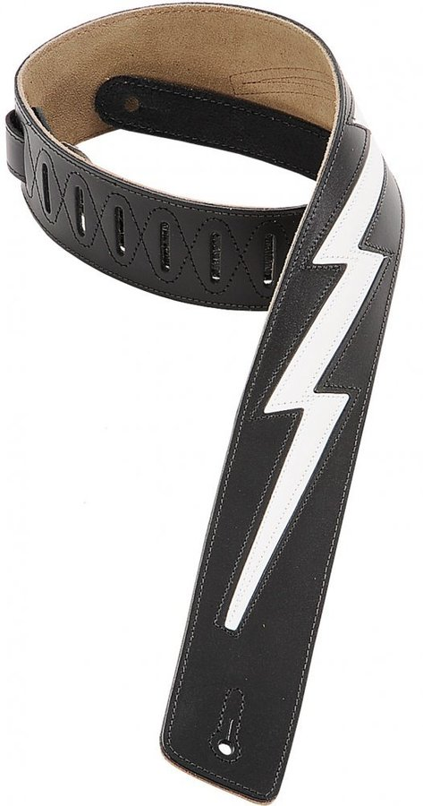 View larger image of Levy's DM2 2 1/2 Leather Guitar Strap with White Lightning Bolt Inlay - Black