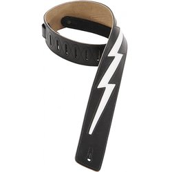 Levy's DM2 2 1/2 Leather Guitar Strap with White Lightning Bolt Inlay - Black