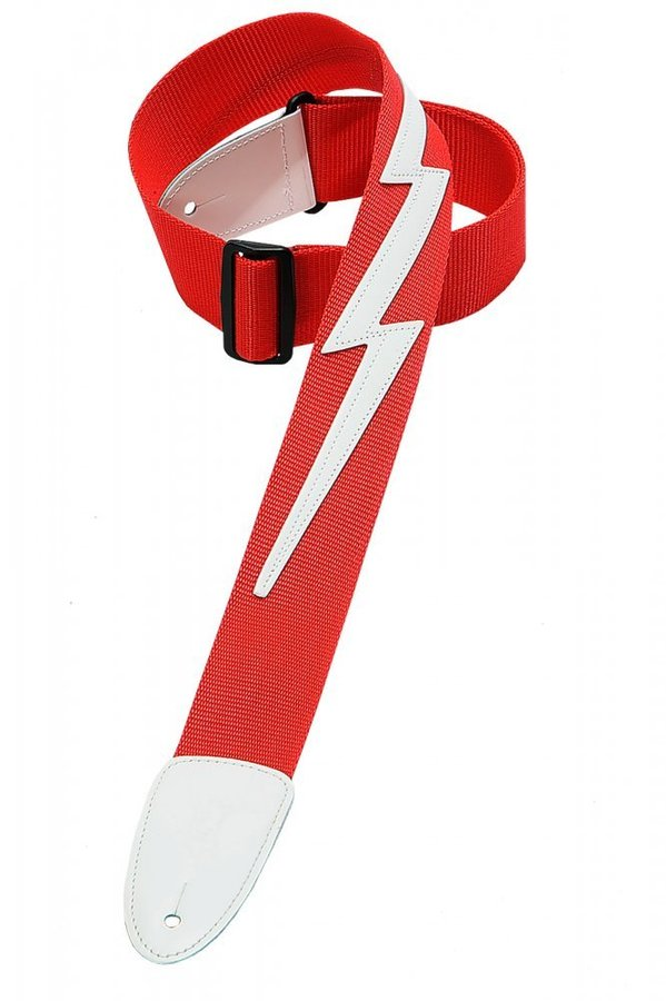 View larger image of Levy's DM5 2 Soft-Hand Polypropylene Guitar Strap with Leather Lightening Bolt Applique - Red
