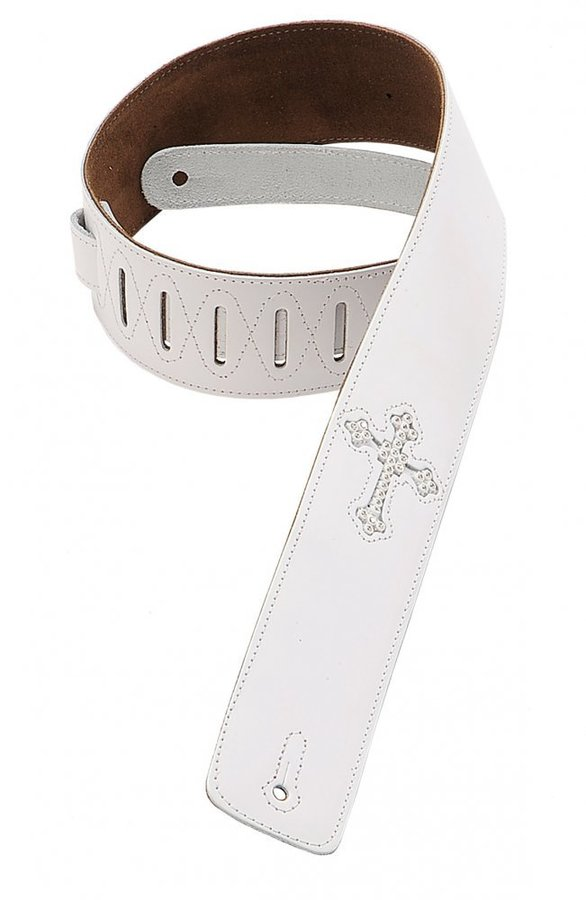 View larger image of Levy's DM7R 2 1/2 Leather Guitar Strap with Rhinestone Holy Cross Inlay - White