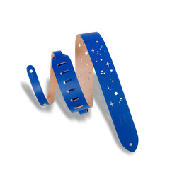 Levy's Galaxy Punch Out Leather Guitar Strap - Blue, 2