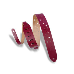 Levy's Galaxy Punch Out Leather Guitar Strap - Burgundy, 2