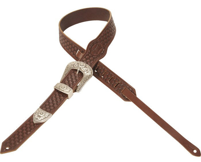 View larger image of Levy's Leather MV71 Veg Tan Leather Guitar Strap - Walnut, 2.5