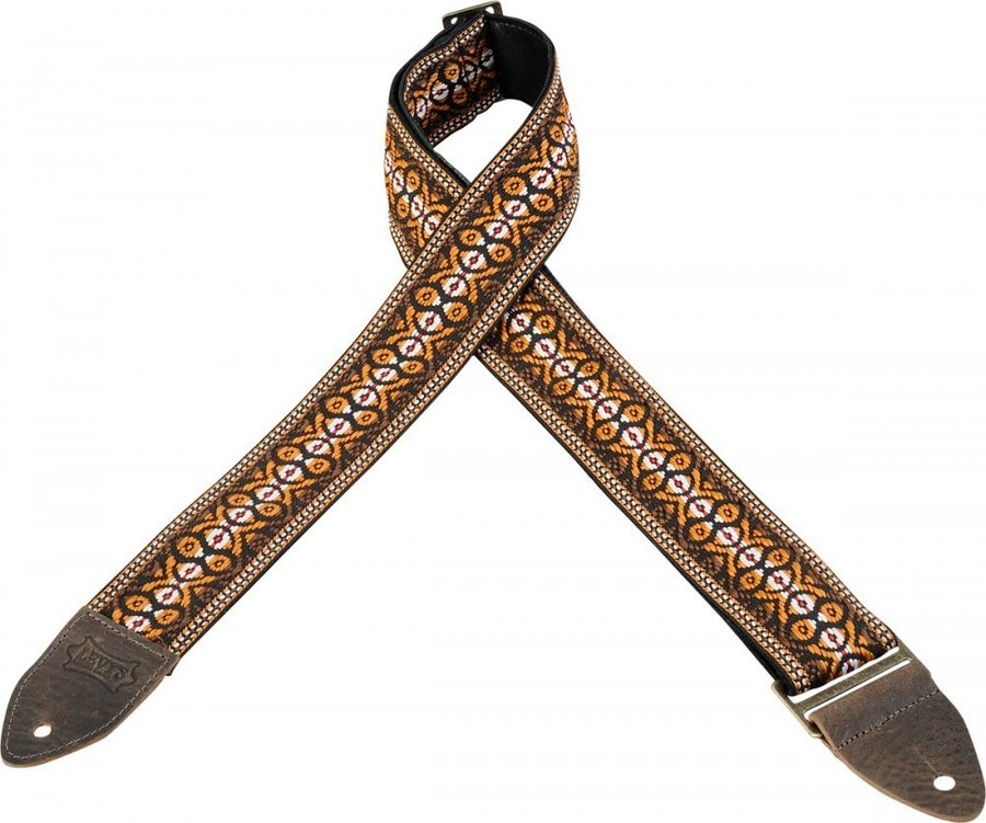 View larger image of Levy's Leathers M8HTV Jacquard Guitar Strap - Stripes Orange & Brown, 2