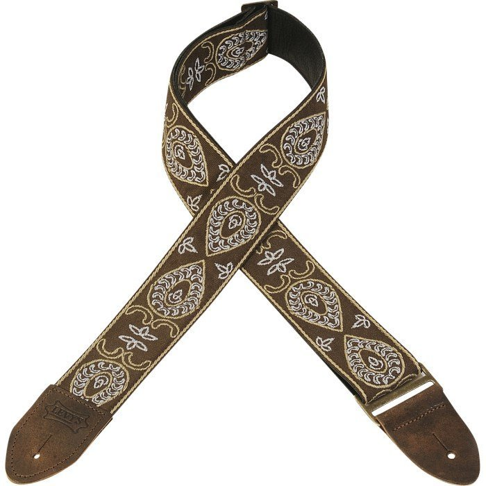 View larger image of Levy's Leathers M8HTV Jacquard Guitar Strap - Teardrop Brown & White, 2