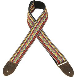 Levy's Leathers M8HTV Jacquard Guitar Strap - Western Red & Yellow, 2