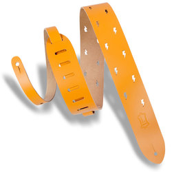 Levy's Lightning Bolt Punch Out Leather Guitar Strap - Tan, 2