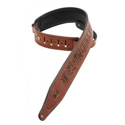 Levy's M17T01 2 1/2 Carving Leather Guitar Strap with Zodiac Design - Brown