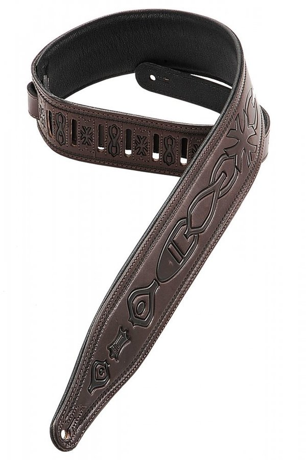 View larger image of Levy's M17T02 2 1/2 Carving Leather Guitar Strap with Geometric Chain Design - Dark Brown