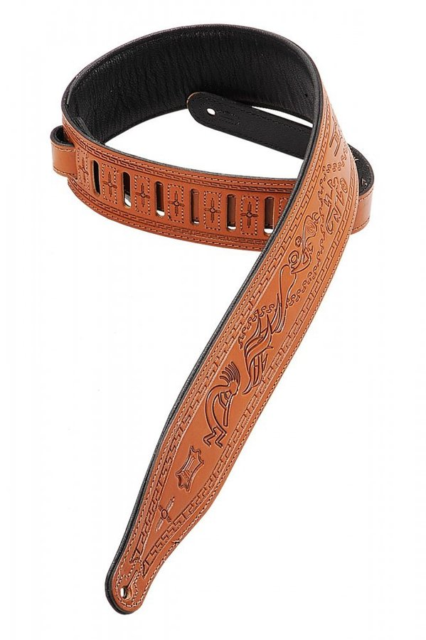 View larger image of Levy's M17T03 2 1/2 Carving Leather Guitar Strap with Kokopelli Design - Tan