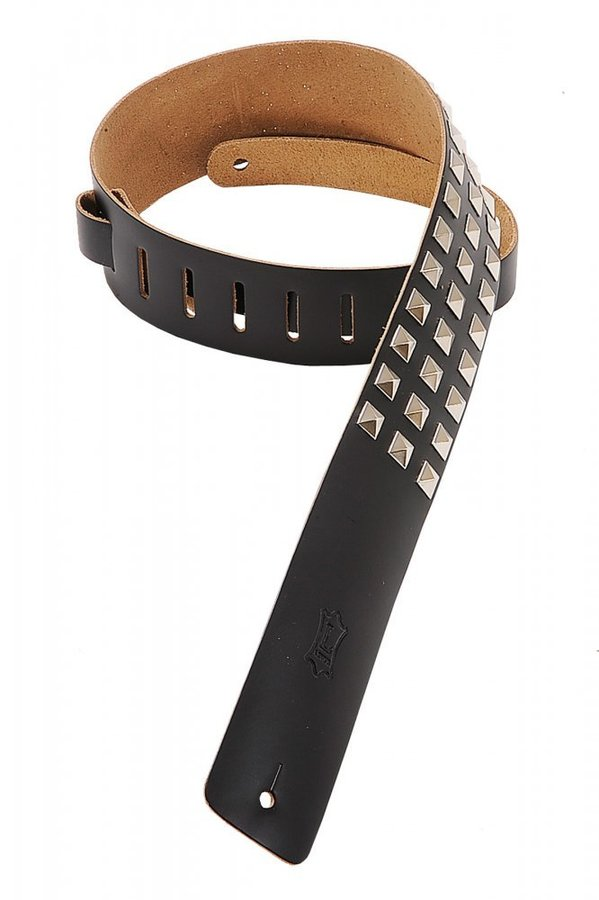 View larger image of Levy's M1SD 2 1/2 Leather Guitar Strap with Metal Studs - Black