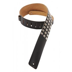Levy's M1SD 2 1/2 Leather Guitar Strap with Metal Studs - Black