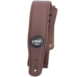 Levy's M26 Garment Leather Guitar Strap - Brown, Suede Back, Cosmo Music 50th Anniversay