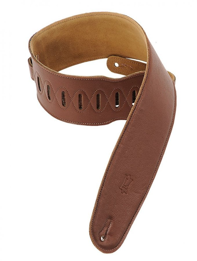 View larger image of Levy's M4GF 3 1/2 Garment Leather Bass Strap with Foam Padding - Brown