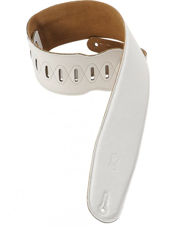 View larger image of Levy's M4GF 3 1/2 Garment Leather Bass Strap with Foam Padding - White