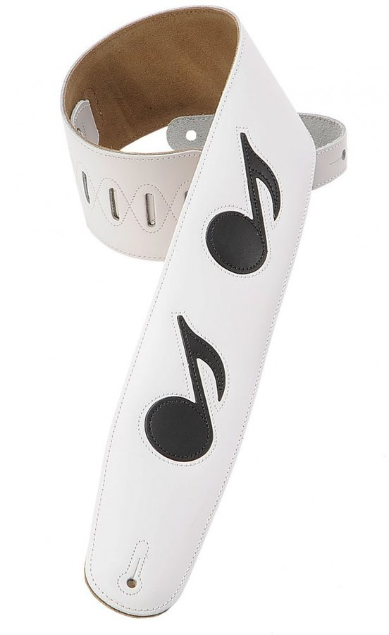 View larger image of Levy's M4N 3 1/2 Leather Guitar Strap with Leather Musical Notes Inlay - White