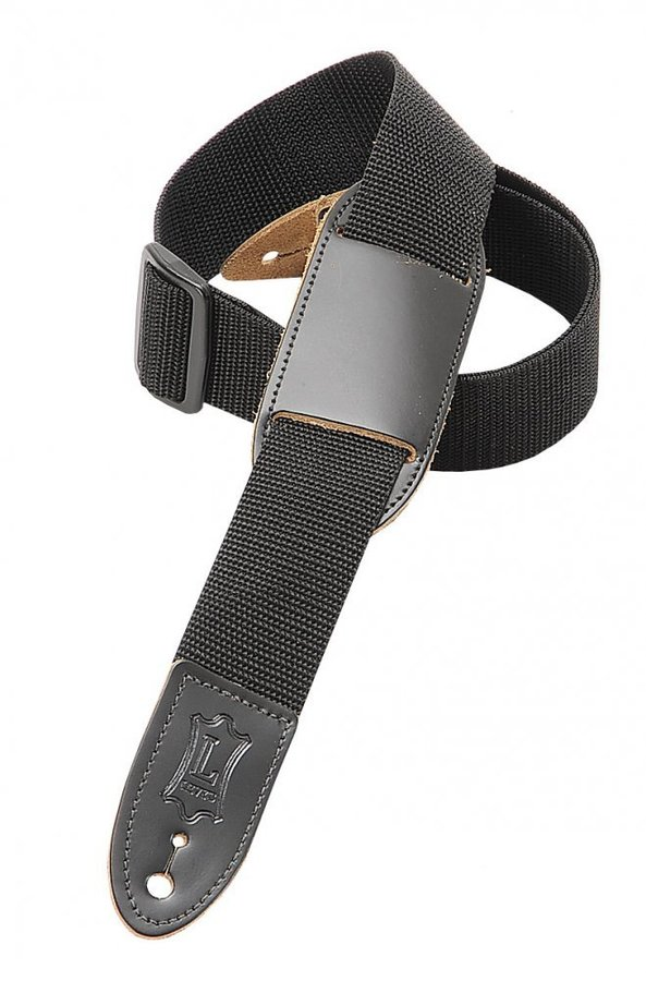 View larger image of Levy's M8PJ 1 1/2 Polypropylene Youth Guitar/Ukulele Strap with Moveable Leather Pad - Black