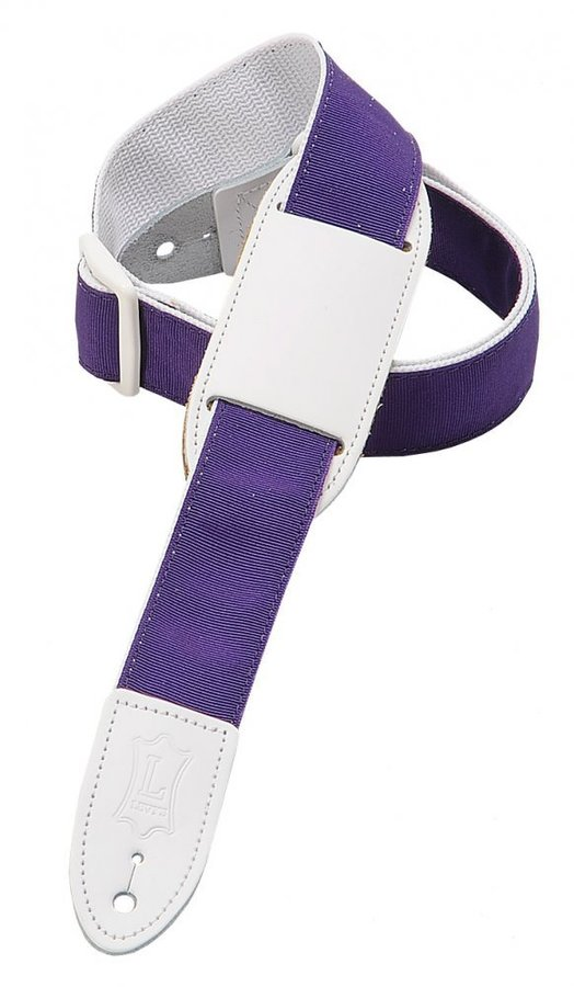 View larger image of Levy's M8PJG 1 1/2 Polypropylene Youth Guitar/Ukulele Strap with Moveable Leather Pad - Purple