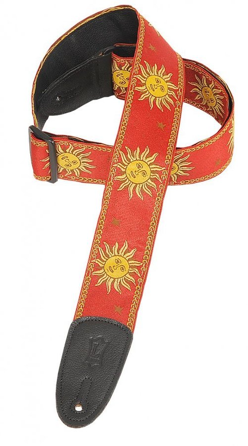 View larger image of Levy's MPJG-SUN 2 Sun Design Jacquard Weave Guitar Strap - Red