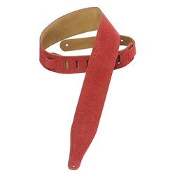 Levy's MS17T04 2 1/2 Suede Leather Guitar Strap - Skulls - Red