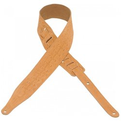 Levy's MS17T08 2 1/2 Suede Leather Guitar Strap with Bootlace Design - Honey