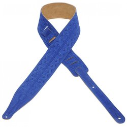 Levy's MS17T08 2 1/2 Suede Leather Guitar Strap with Bootlace Design - Royal Blue