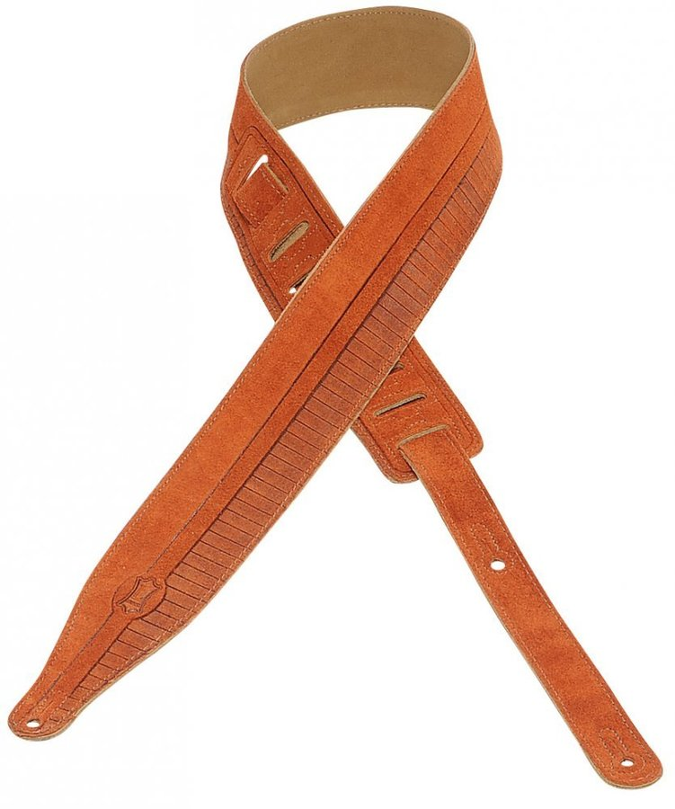 View larger image of Levy's MS17T09 2 1/2 Suede Leather Guitar Strap - Stripes Design - Copper