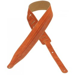 Levy's MS17T09 2 1/2 Suede Leather Guitar Strap - Stripes Design - Copper