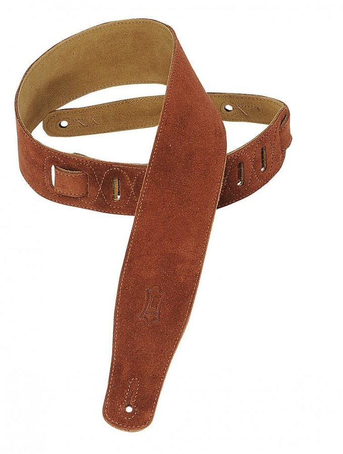 View larger image of Levy's MS26 2 1/2 Suede Guitar Strap - Rust