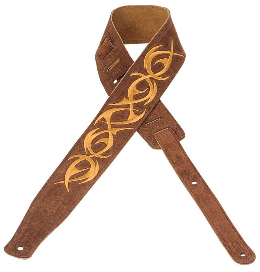 View larger image of Levy's MS26E-001 2 1/2 Suede Guitar Strap with Embroidered Design