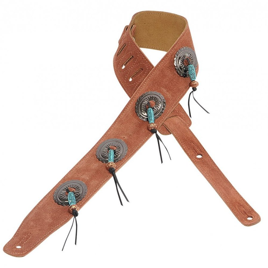 View larger image of Levy's MS26SF 2 1/2 Suede Leather Guitar Strap with 4 Conchos - Rust