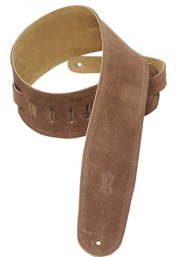 View larger image of Levy's MS4 3 1/2 Suede Guitar Strap for Bass - Brown
